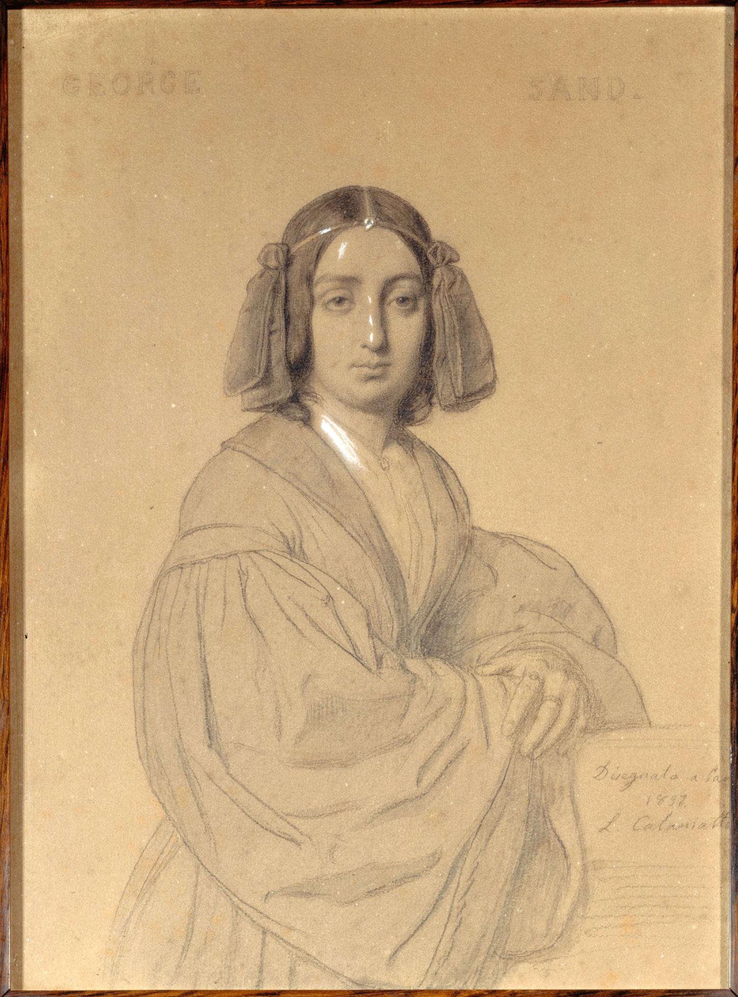 George Sand en 1837, dessin de Luigi Calamatta (1801-1869)