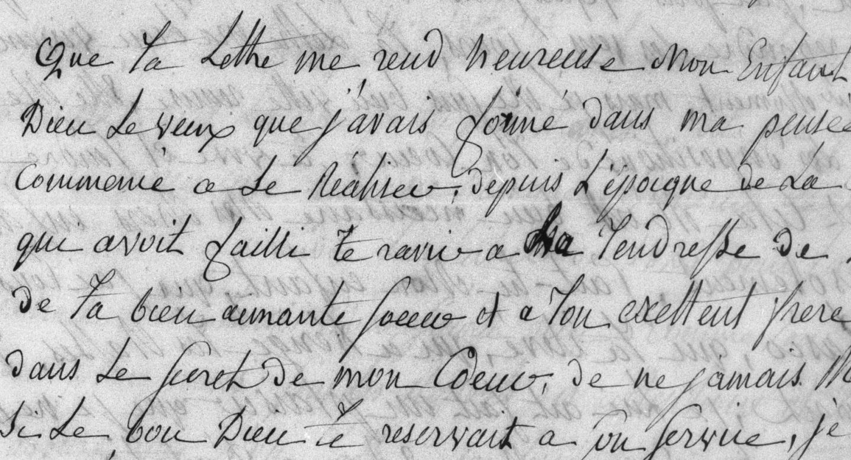 Détail de la lettre de Mme Renan mère à Ernest Renan