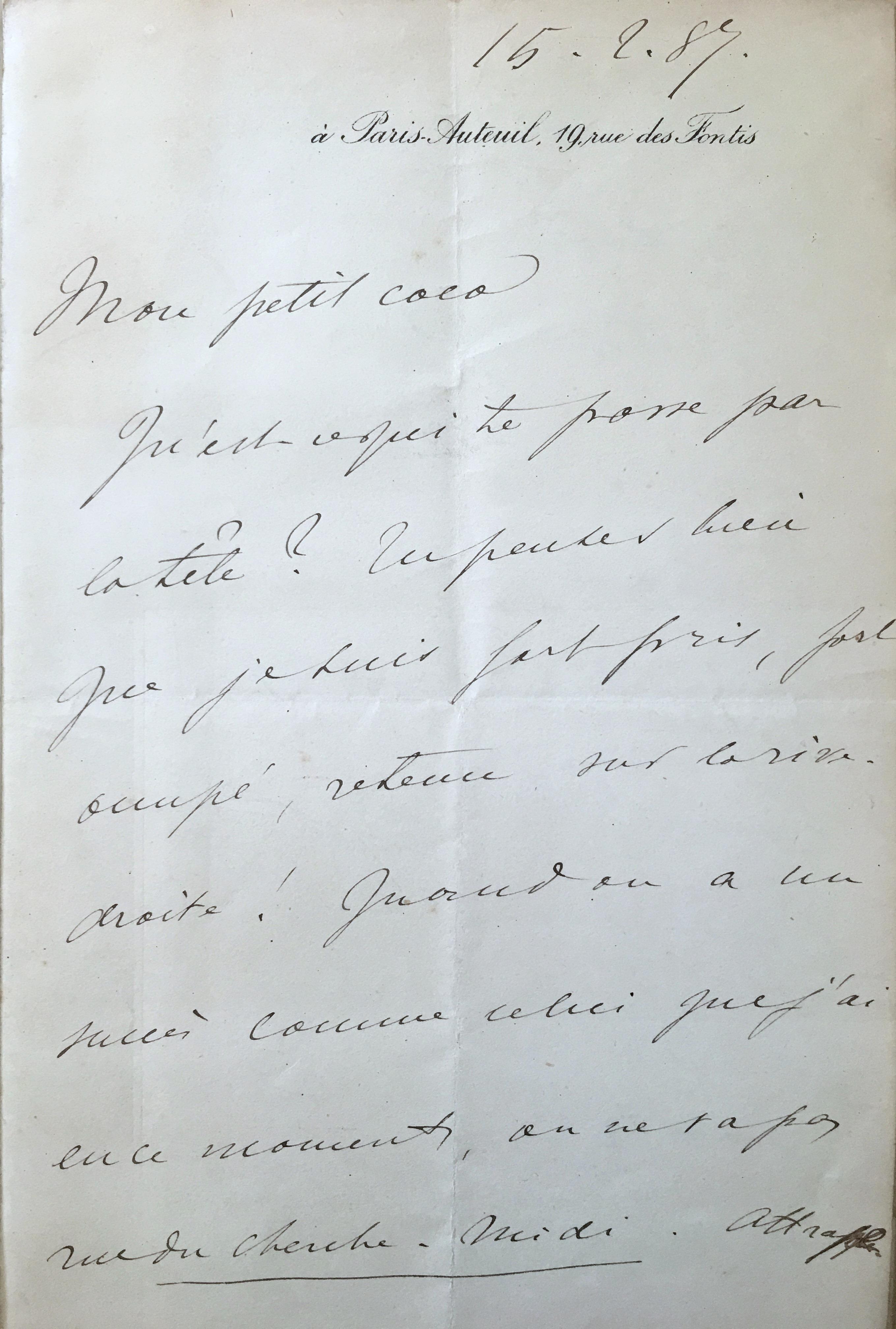 Lettre de Jacques-Emile Blanche à Ary Renan, 15 février 1887